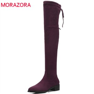 2020 newest flock thigh high over the knee boots women pointed toe keep warm autumn winter boots dress shoes woman210