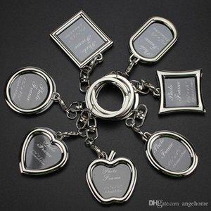 cgjxs Porte-clés de mode avec Médaillon Photo Frame -6 forme, Insérer Cadre photo Porte-clés Keychain Porte-clés