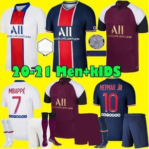 Hommes enfants Maillots de kit de football 20 21 PSG Soccer Jerseys 2020 2021 Paris MBAPPE Troisième de chemise de football ICARDI Verratti