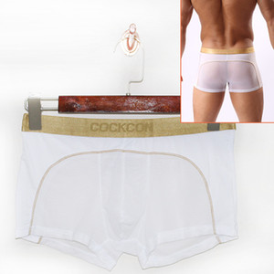 Cockcon Mens Transparent Boxers Sexy Underwear Men Pouch See Through Thin Panties Low Waist Underpants Male Mesh Breathable