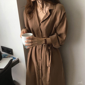 Women trench coats cotton outwear new styles jacket lapel neck long sleeve coats2367