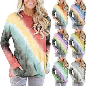 Herbst 2020 Frauen-Sweatshirts Explosive Tie-Dye Frauen-T-Shirt mit Sternenhimmel Tie-Dye-Gradienten Farbe Rundhals Langarm-Tasche Pullover