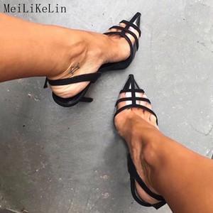 MeiLiKeLin Sexy fermé Pointu clair Sandales à talons Parti dames Chaussures femmes Talons cheville boucle talon mince Pumps Sandales Y200620