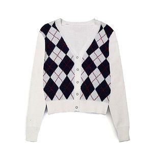 vintage stylish geometric rhombic cardigan sweater women fashion autumn warm long sleeve outerwear chic england style tops 200922