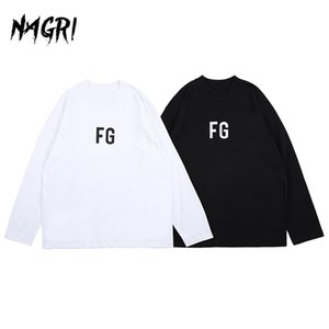 Hip Hop Long Sleeve T shirt Men FG Graphic Letter Printed Solid Color Loose Pullover Casual Tee Men's Streetwear T-shirts 0924