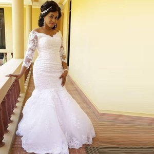 Gorgeous Africa Off Shoulder Long Sleeves Lace Mermaid Wedding Dresses with Sequined Appliques Sweep Train Tulle Wedding Bridals Gowns