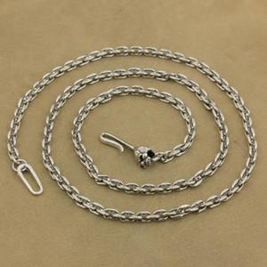 LINSION 4mm Platz Gliederkette 925 Sterlingsilber-Schädel-Haken-Haken-Charme-Halskette TA35 Länge 18 bis 36 Zoll erhältlich