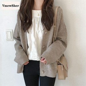 VmewSher Women Solid Single Breasted Sweater Cardigans Casual Basic V-neck Kitted Sweater 2020 New Lady's Loose Plus size Coat 0926