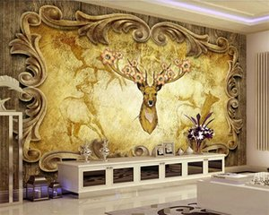 3d Animal Wallpaper Forest Deer King Nordic Style Retro Background Wall Digital Printing HD Decorative Beautiful Wallpaper