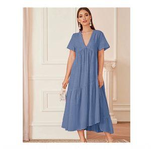 2020 Sommer V-Ausschnitt langen Kleid Baumwolle und Leinen Mian ma qun Kleid Mian ma qun Rock 2l8Cj