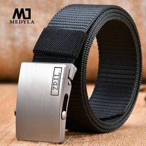 fivela Fãs MEDYLA Atacado Masculino de alta qualidade Nylon Cinto Cinto Unisex automáticas Tactical Canvas Belt For Man uma
