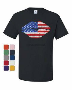 Labios camiseta patriótica beso atractivo barras y estrellas de 4 º de julio de Camiseta