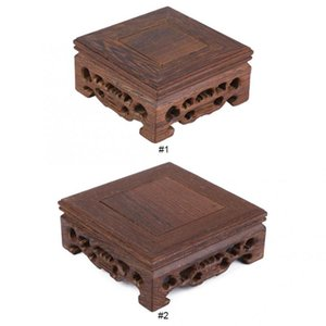 Retro Tray Table Delicate Small Square Teapot Base Vase Decoration Solid Wood Bonsai Pedestal Wooden Base Serving Tray