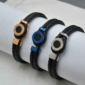 Promotion - Classical Black Woven Leather Bracelets Luxury MtB Branding French Mens Man Jewelry Charm Bracelets Pulseira As Birthday Gift