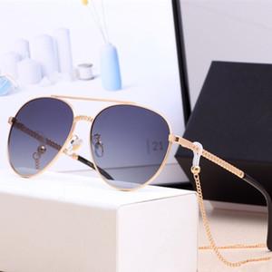 2020 мода высокого качества поляризованных солнцезащитных очков линзы UV400 металла кадр очки для женщин мужчин с брендом и цепи