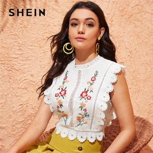 SHEIN Mock Neck Guipure Lace Trim Embroidery White Blouse Womens Tops and Blouses Boho Sleeveless Slim Fit Summer Crop Top 200924