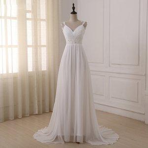 Tamaño Jiayigong playa vestido de novia vestido de Noiva En Stock Plus espagueti Vestidos Lencería correas que rebordea el vestido de novia