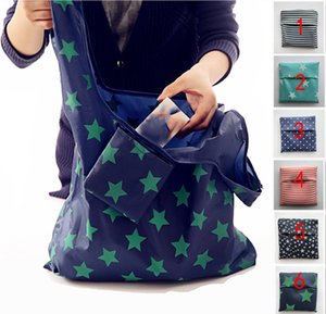 6 Colors Foldable Shopping Bags Nylon Reusable Grocery Storage Bag Eco Friendly Shopping Bags Tote Bags W35*H55cm W95955