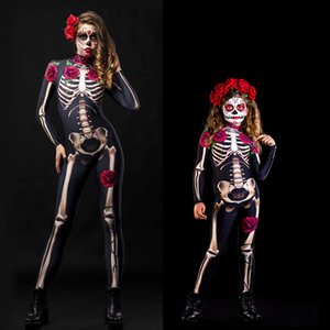 2020 New Autum Adult Kid Mother Daughter Halloween Skeleton Cosplay Jumpsuit Pink Rose Women Sexy Skull Scary Costume Girl 3D Print Bodysuit