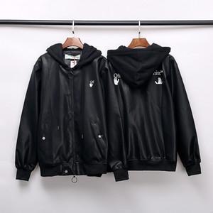 Moda marka KAPALI sonbahar ve kış hırka deri ceket OW erkekler için ceket rüzgar geçirmez kapüşonlu deri ceket