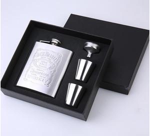 كأس 7OZ الفولاذ المقاوم للصدأ وعاء النبيذ مجموعة الورك قارورة زجاجة كيت السفر القدح البدلة هدية مجانية الزجاج القمع المصنع مباشرة 11 9zp F2
