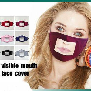 Transparente Visible Máscara Lip Boca Com Indicador Expressão para surdos e duros de ouvido Mondkapjes reutilizável Facemask