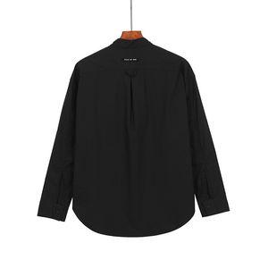 MEDO DE DEUS Preto Retro Estilo mangas compridas temporada de seis Henley pescoço roupas de trabalho Camisas