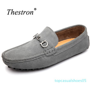 i2018 Big Size Shoes Men Slip on Genuine Leather Shoes Cow Suede Mens Loafers Rubber Driving Men t05