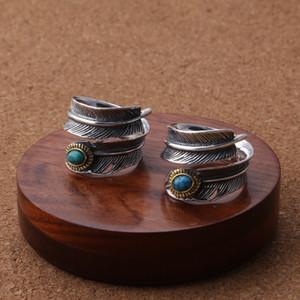 925 gümüş el yapımı tasarım yüzük erkeklerin kadınları açılması turkuaz taşlarla antik gümüş Feather serries ayarlanabilir halkalar yüzük