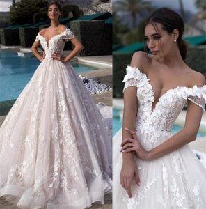 Chic Lange Boho Brautkleider Illusion mit V-Ausschnitt A-Linie Kapelle Zug Appliques-Spitze-Tulle Braut-Kleid erröten Rosa Futter Vestidos
