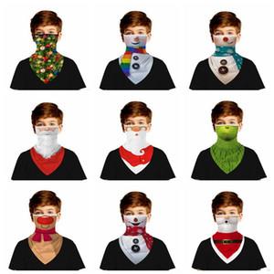 3D Dijital Baskı Sihirli Çocuk Noel Baba Komik Eşarp Hayvan Earflag Üçgen Bandana Kapak Çocuk Noel Yüz Maskeleri LSK1071 Maske