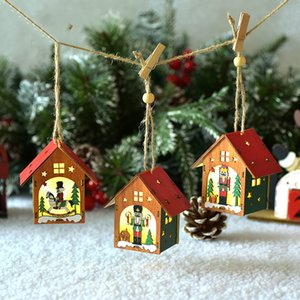 Christmas decoration wooden walnut soldier pendant colorful luminous Wooden House Christmas Tree Pendant atmosphere scene layout T3I51168