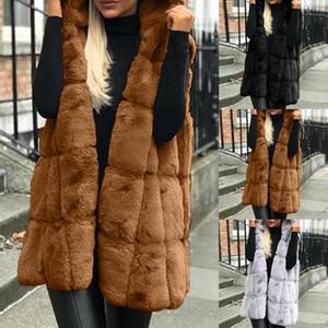 2020 Sonbahar Kış kadın Kollu Yelek Hoodie Sıcak Çift Kalınlaşma Faux Kürk Patchwork Kadın Kış Sıcak Ceket Giyim