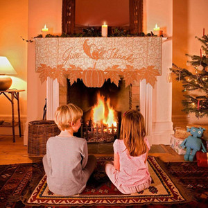 Home Floral Print Fireplace Cloth Table Cover for Christmas Valentine´s Day Festival Decoration