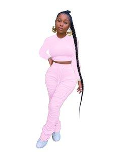 Pantolon Renk Toprak Parça Parça Parça Rahat İki Boyun İki Bayan Eşofman Yığılmış Tasarımcı Set Womens Crew GWDPI