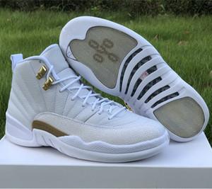 Klasik 12 XII Metalik Altın Beyaz Basketbol Spor Sneakers Gemi ile Kutu Boyut US7-13 Koşu İyi Kalite 12s Mens Shoes