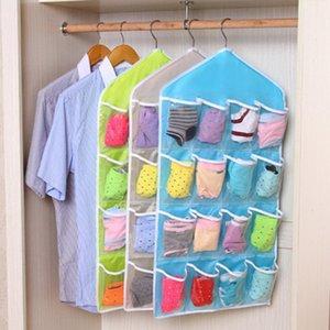Roupa Hanger Limpar Hanging Bag 16 Pockets Cueca Storage Bag Meias Bra rack Roupeiro sacos pendurados Briefs mangueira Organizer