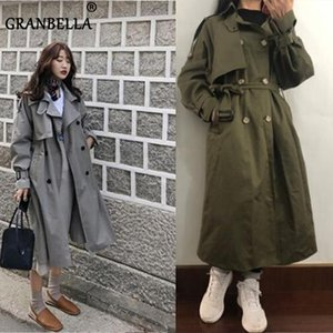 Fashion Fall Winter casual cotton trench coat with sashes oversize vintage long coats overcoats 200917