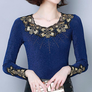 Lace tshirt female 2020 autumn embroidery Diamonds Slim long sleeve mesh shirt top t-shirt bottoming shirt top plus size t