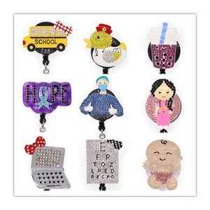 10pcs lot Free shipping Rhinestone enamel Retractable ID Badge Holder reel for accessories