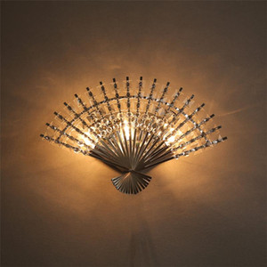 Chinese fan-shaped crystal wall lamp modern led beds creative bedroom led wall light for living room decoration sconce lighting