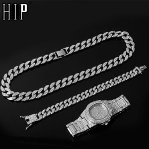 Necklace +Watch+Bracelet Hip Hop Curb Cuban Chain Gold Silver Color Iced Out Paved Rhinestones CZ Bling Rapper For Men Jewelry MX200810