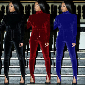 Женщины костюмы пуловер Hoodie Длинные брюки Два Бюстье Проектировщик Solid Color Plus Размер Женская одежда