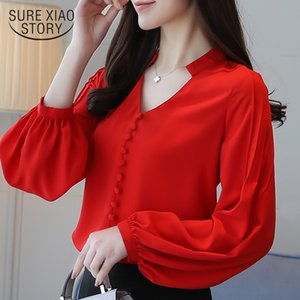 fashion women blouses long sleeve women shirts red chiffon blouse shirt V-neck office work wear womens tops and blouses 0603 60 200924