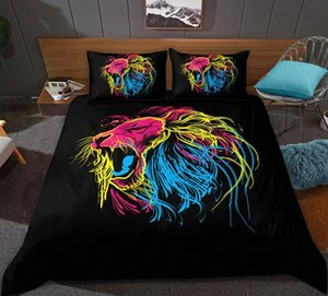 Padrão Color Line Lion edredon cobrir Set Cor Animal Print cama Set Microfibra Colcha Home Textiles 0Paw #