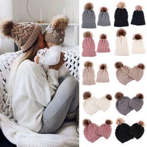Cap Beanie AU Mãe do bebê Crianças Matching Knitting Lã Quente Pom Bobble chapéu do inverno