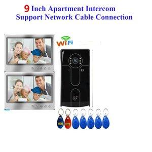 cartão RIFD vídeo sem fio Intercom IP vídeo porteiro Wifi 9 polegadas Monitor de 700TVL Doorbell Camera Início Intercom Sistema