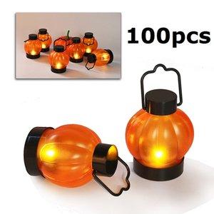 Cgjxs 100pcs Mini Led Zucca Candele luce arancione della zucca di Halloween lanterna appesa proprietà della fase Night Lights per il partito decorazioni domestiche