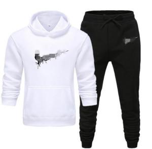 Männer Designer Hoodies Hosen Set Kapuzenanzug Herren Sweat Suits Patchwork Schwarz Farbe 2020 Herbst-Winter-2ST Hoodies Sportsuit S-3XL