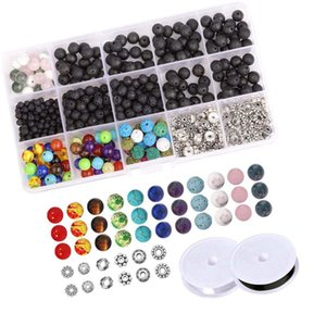 Set of 500 Pcs 4-8mm Black Natural Lava Stone 7 Colors Chakra Beads Loose Beads and Zinc Alloy Spacer for DIY Jewelry Ma